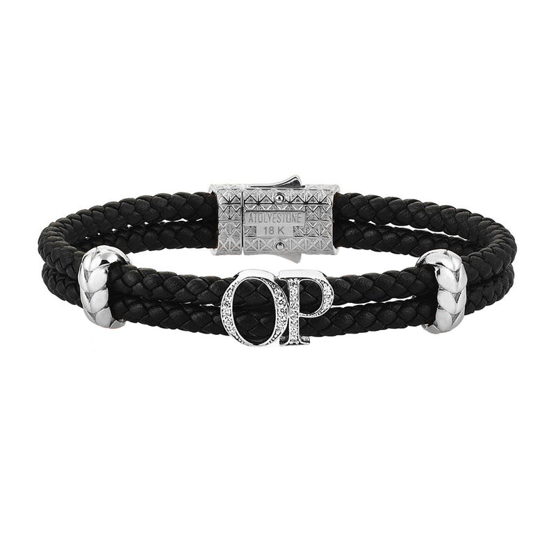 Atolyestone Statements - Solid White Gold - Black Leather - White Diamond