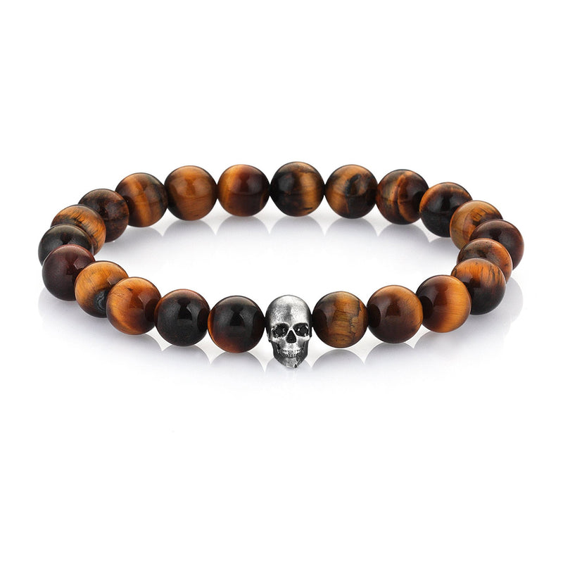 Mens CZ Diamond Skull Beaded Bracelet - Sterling Silver - Tiger Eye