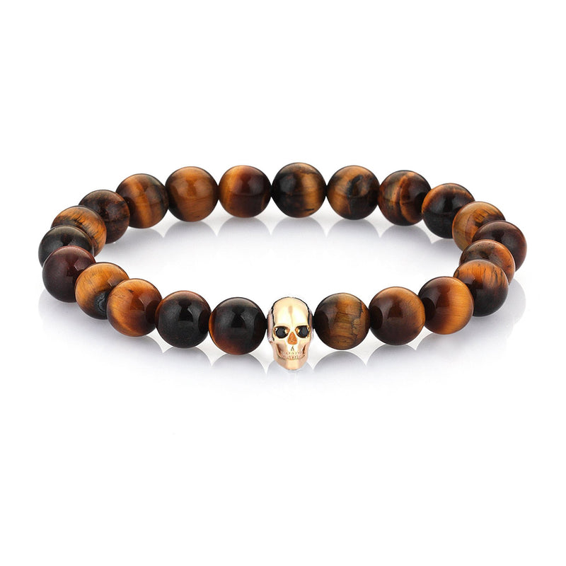 Mens CZ Diamond Skull Beaded Bracelet - Yellow Gold - Tiger Eye