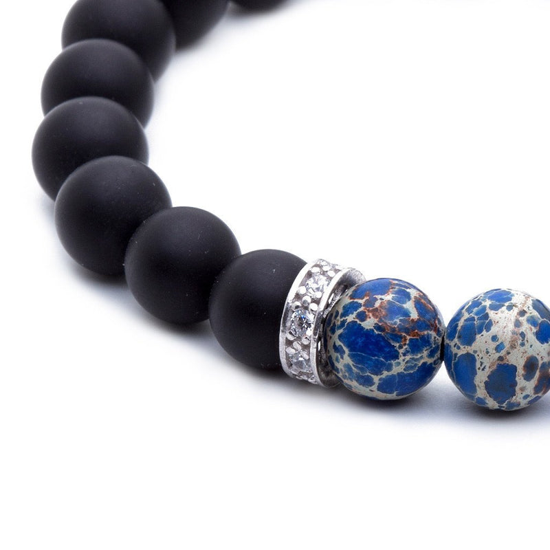 Agate(Black) Beaded Bracelet Blue Jasper