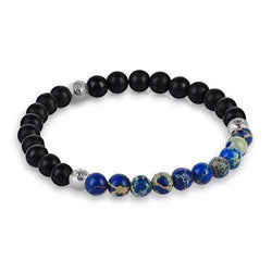 mens 4mm black beaded bracelet