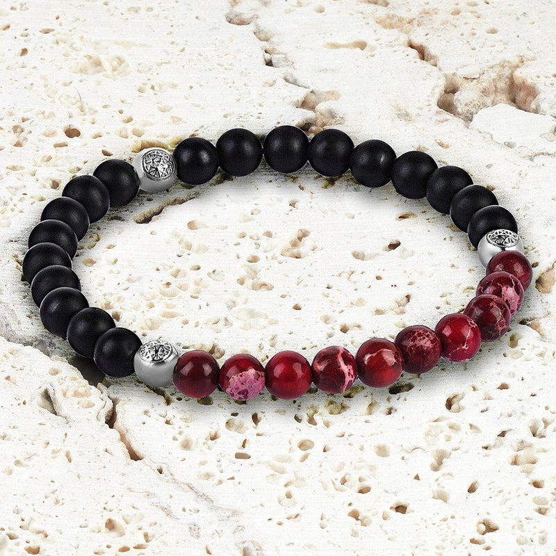 Agate Beaded Bracelet - Micro Red Jasper