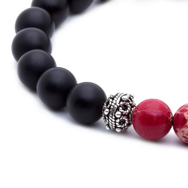 Matte Agate Beaded Bracelet - Red Jasper