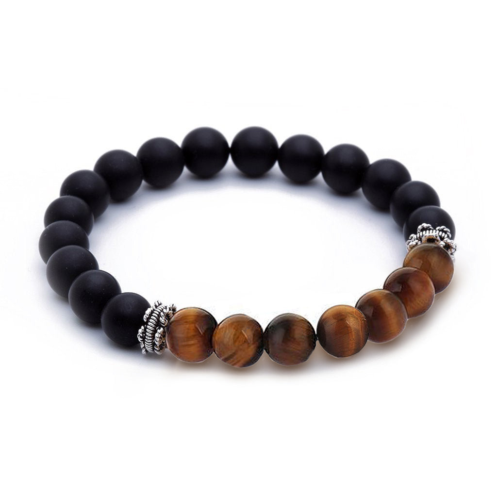 mens black beaded bracelet