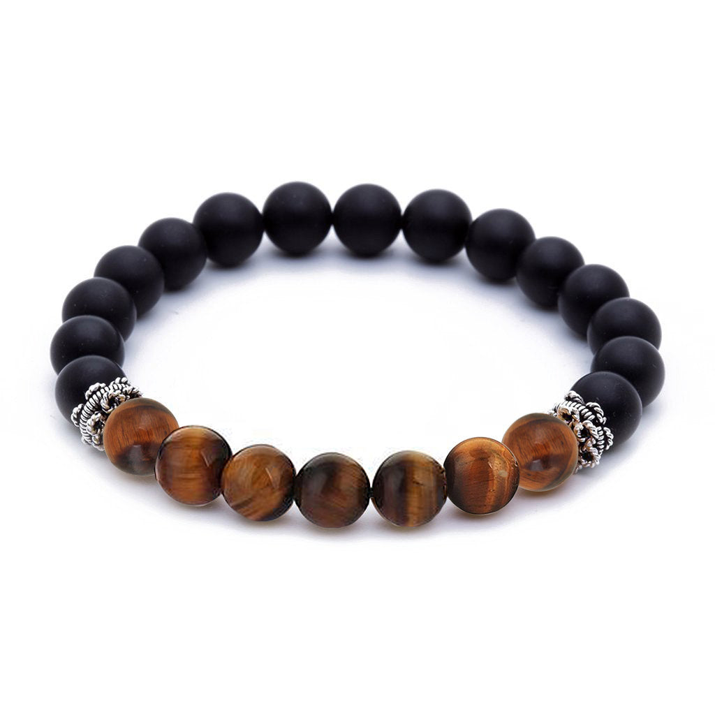 Agate Beaded Bracelet Tiger Eye