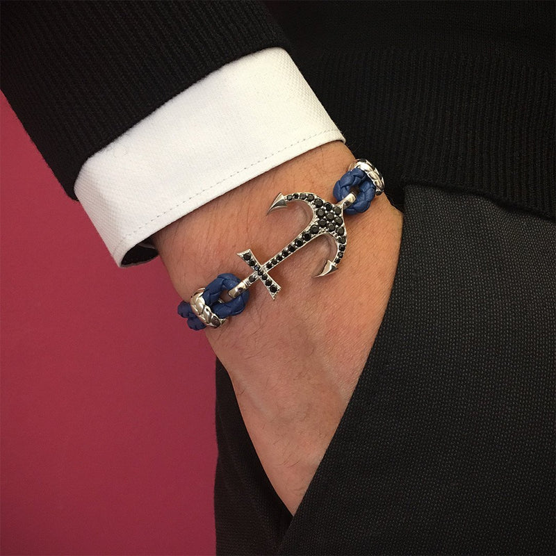 Anchor Leather Bracelet - Solid White Gold - Blue Nappa
