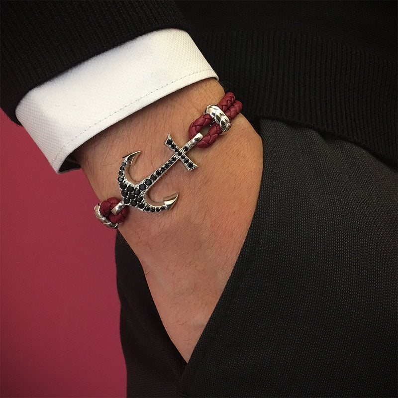 Anchor Leather Bracelet - Solid White Gold - Dark Red Nappa