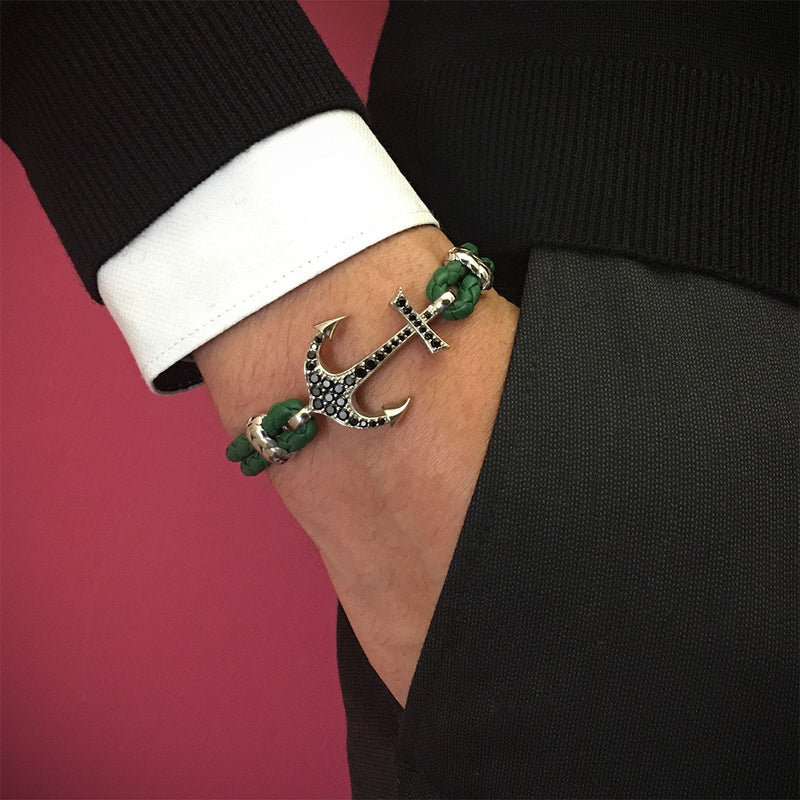 Anchor Leather Bracelet - Solid White Gold - Dark Green Nappa