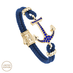 Anchor Leather Bracelet - Blue