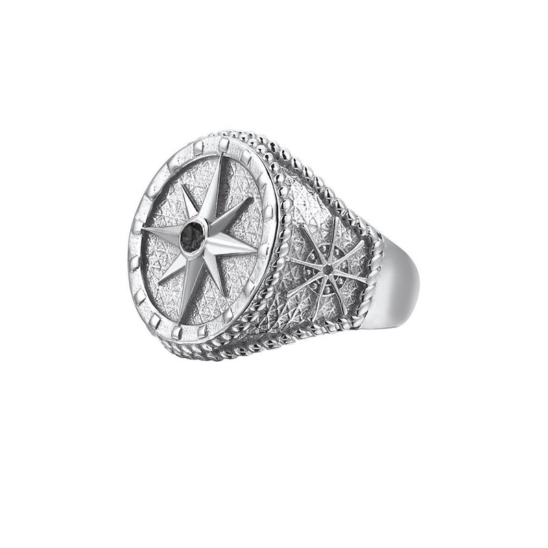 Compass Ring - Solid Silver - Silver - Black Diamond