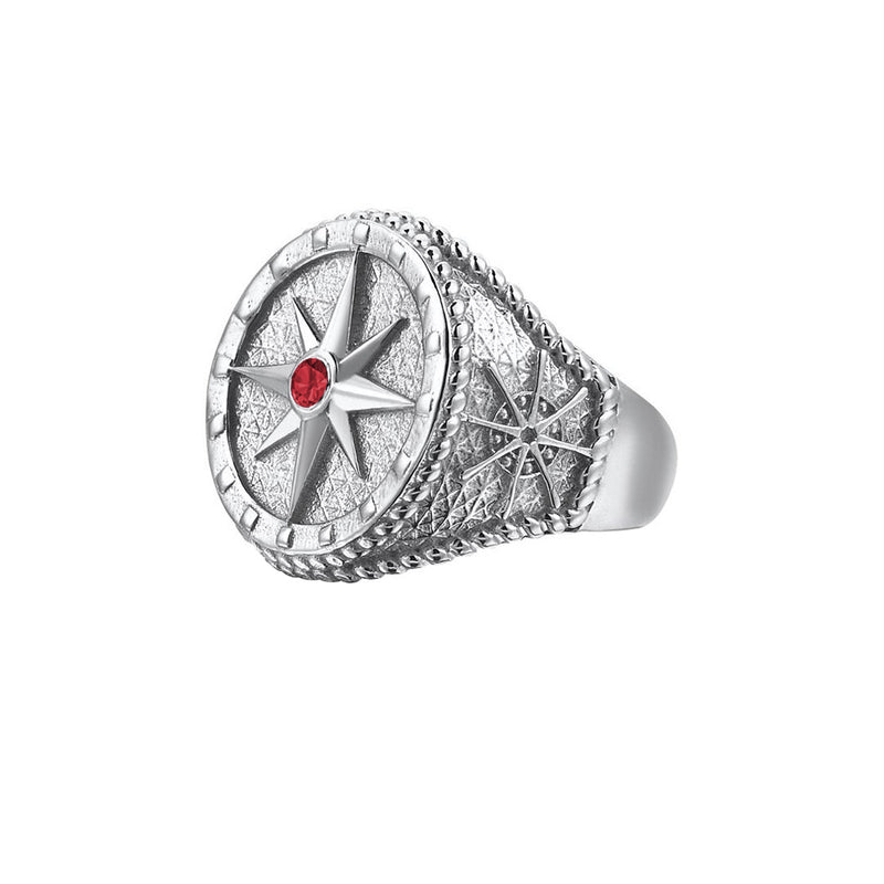 Compass Ring - Solid Silver - Silver - Ruby