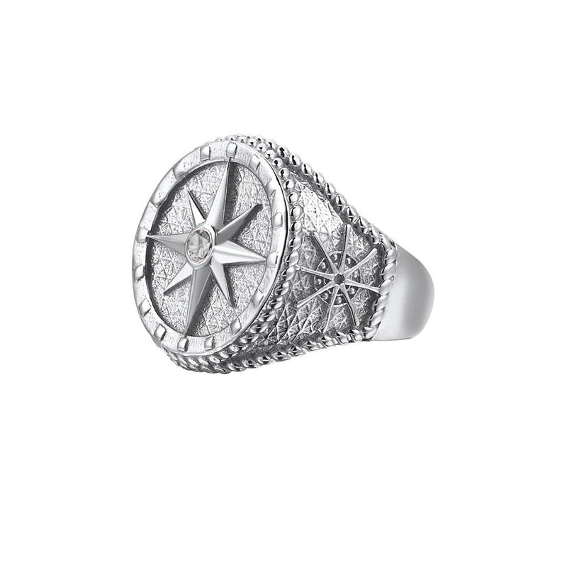 Compass Ring - Solid Silver - Silver - White Diamond