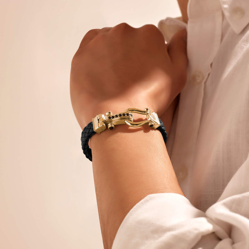 Atolyestone Iconic Leather Bracelet in Gold