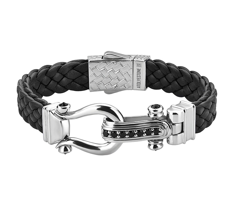 Atolyestone Iconic Leather Bracelet in Silver
