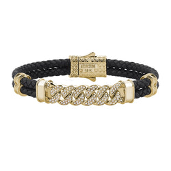Mens Cuban Links Leather Bracelet - Black Leather - Solid Yellow Gold