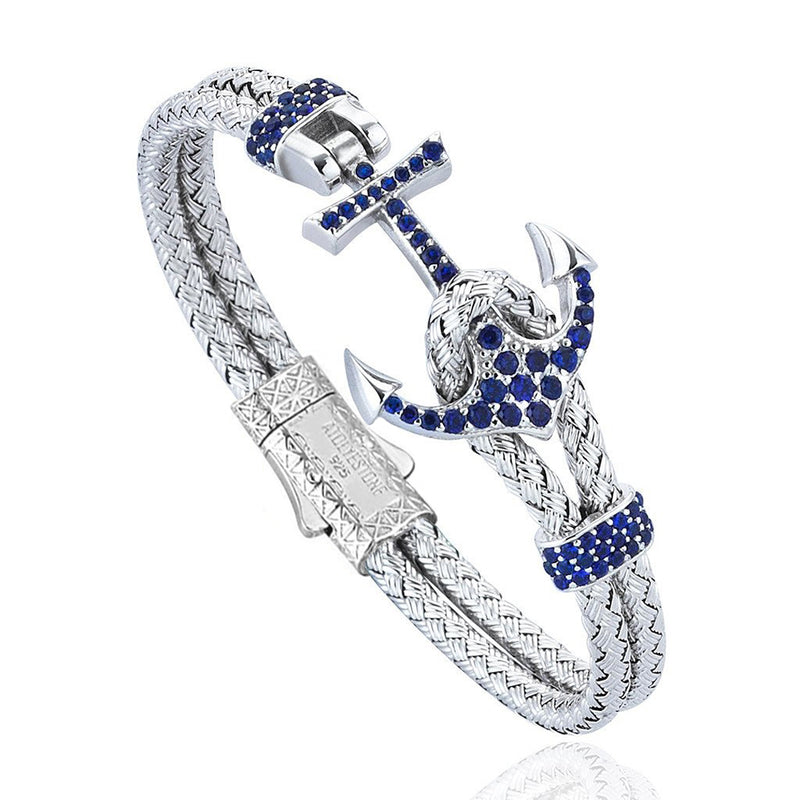 Women's Petite Anchor Bracelet - White Gold - Navy Blue