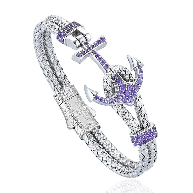 Women's Petite Anchor Bracelet - White Gold - Purple