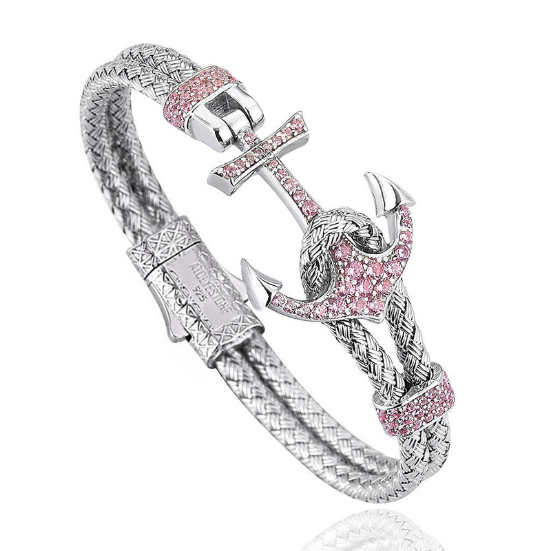 Women's Petite Anchor Bracelet - White Gold - Pink