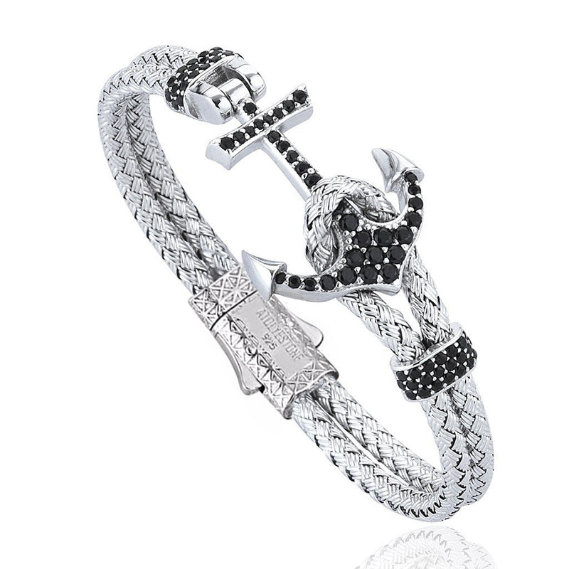 Women's Petite Anchor Bracelet - White Gold - Black