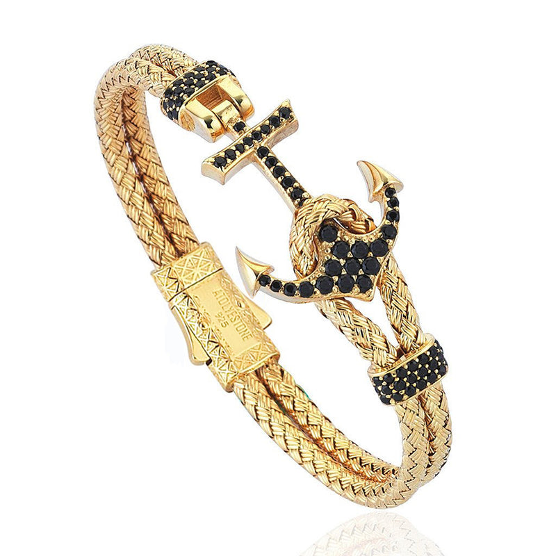 Women's Petite Anchor Bracelet - Yellow Gold - Black