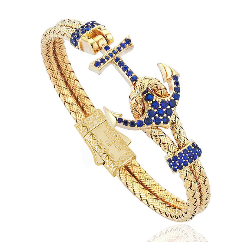 Women's Petite Anchor Bracelet - Yellow Gold - Navy Blue