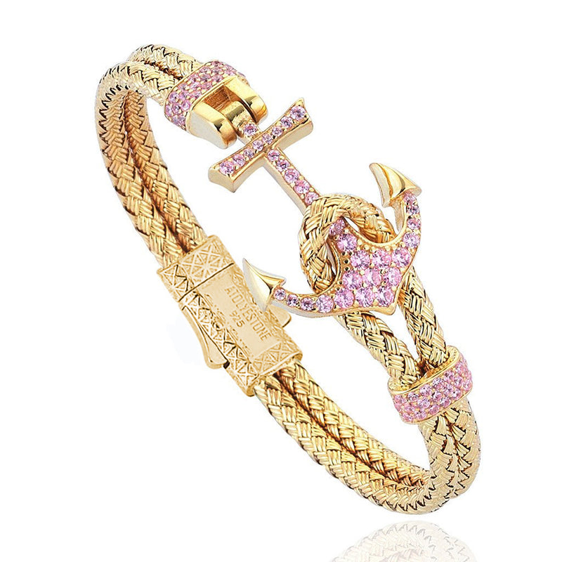 Women's Petite Anchor Bracelet - Yellow Gold - Pink