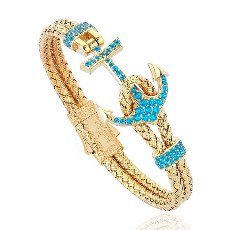 Women's Petite Anchor Bracelet - Yellow Gold - Turquoise