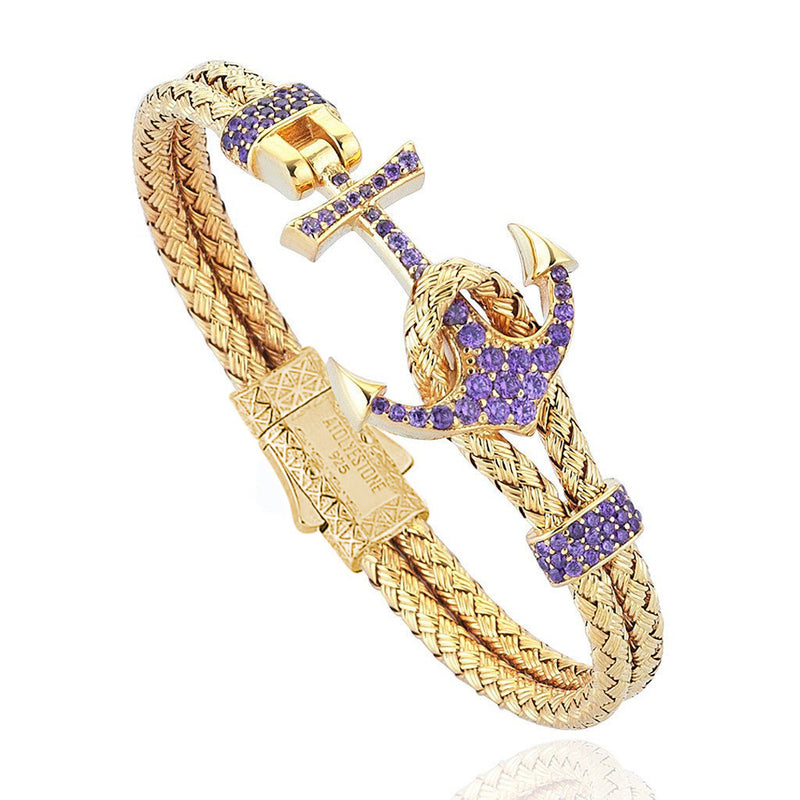 Women's Petite Anchor Bracelet - Yellow Gold - Purple