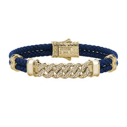 Mens Cuban Links Leather Bracelet - Blue Leather - Solid Yellow Gold