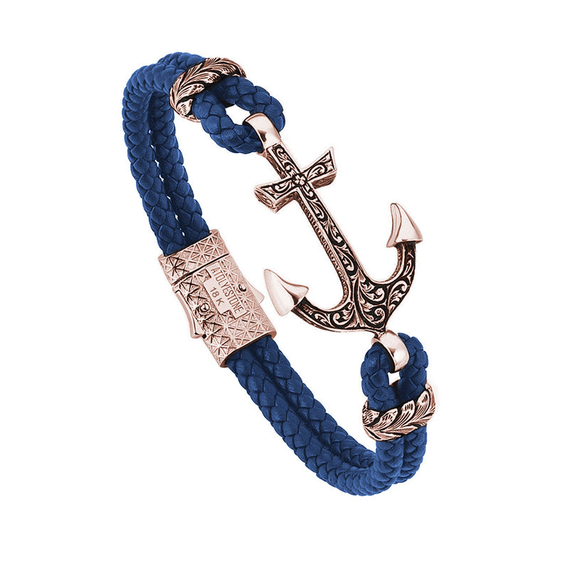 Mens Classic Anchor Leather Bracelet - Blue Leather - Solid Rose Gold