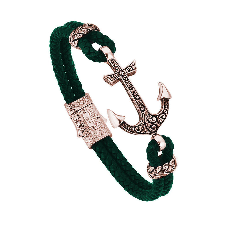 Mens Classic Anchor Leather Bracelet - Dark Green Leather - Solid Rose Gold