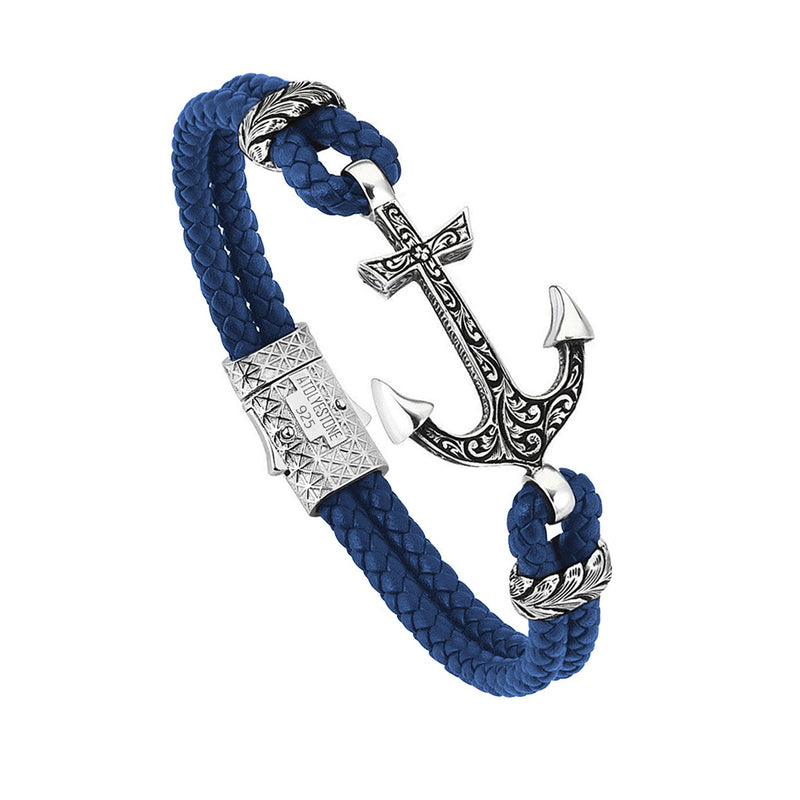 Mens Classic Anchor Leather Bracelet - Blue Leather - Solid Silver