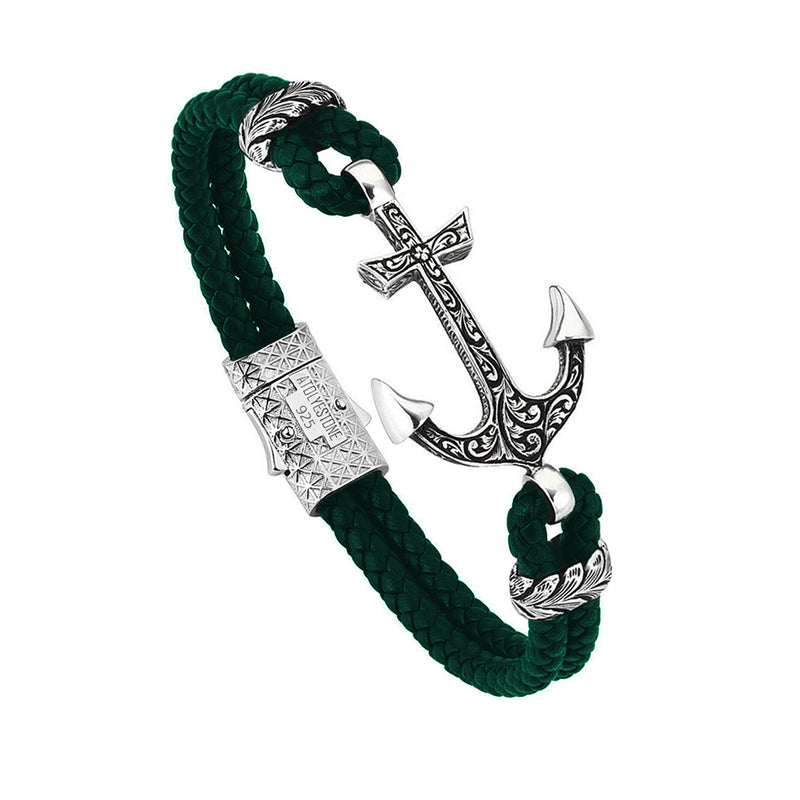 Mens Classic Anchor Leather Bracelet - Dark Green Leather - Solid Silver