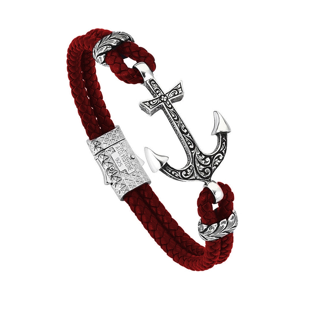 Mens Classic Anchor Leather Bracelet - Dark Red Leather - Solid Silver