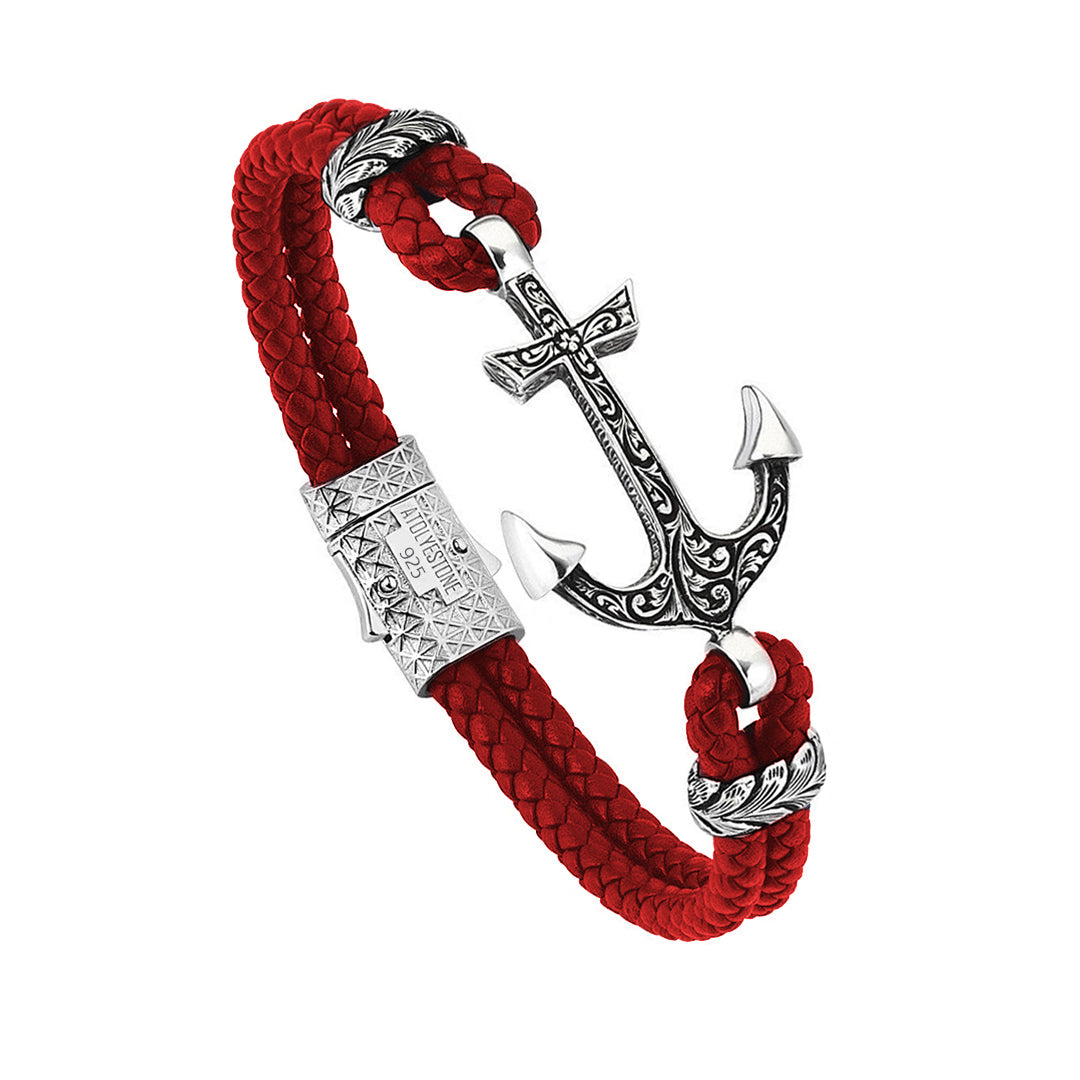 Classic Anchor Leather Bracelet - Solid Silver - Red Leather