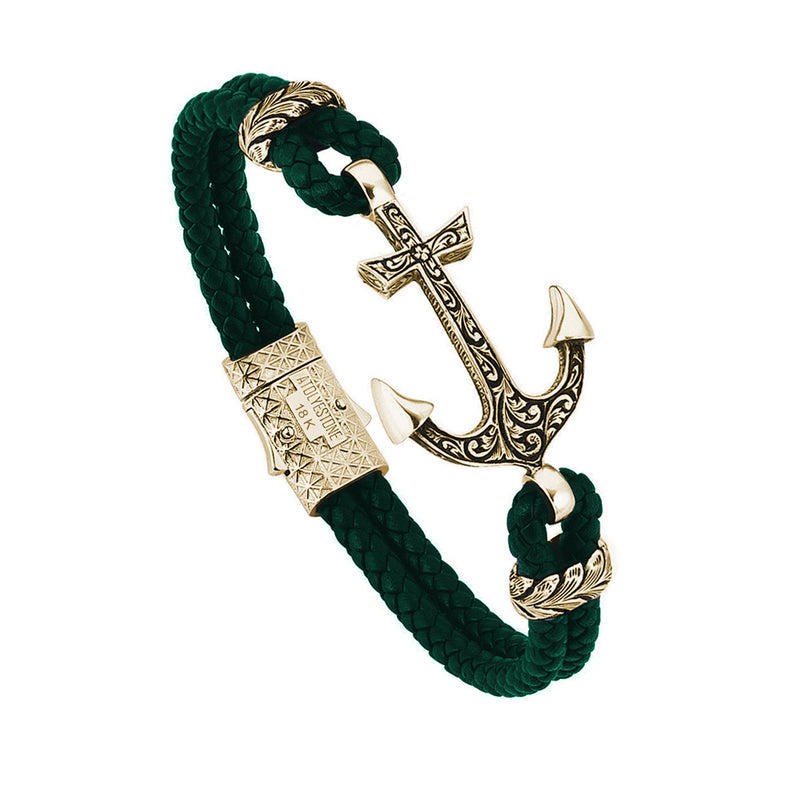 Mens Classic Anchor Leather Bracelet - Dark Green Leather - Solid Yellow Gold