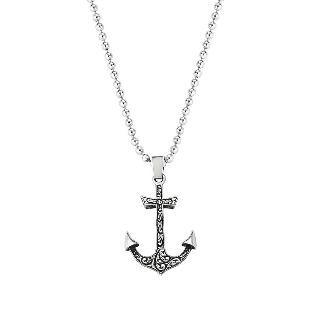 Mens Anchor Necklace - Solid Silver