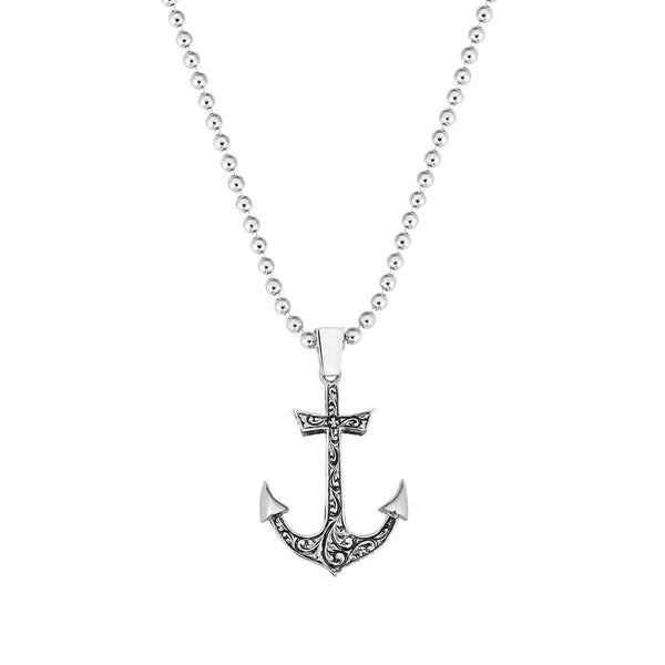 Solid Gold Mens Anchor Necklace