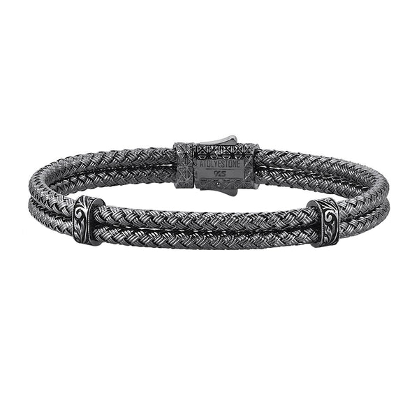 Mens Classic Bangle - Solid Silver - Gunmetal