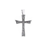 Mens Cross Necklace  - Carved Silver