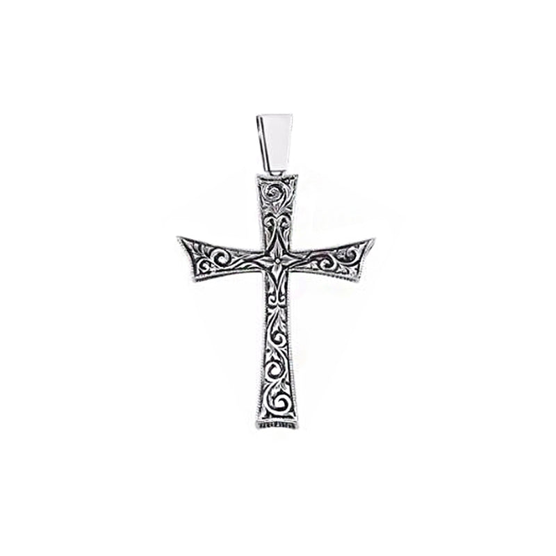 Solid Gold Mens Cross Necklace