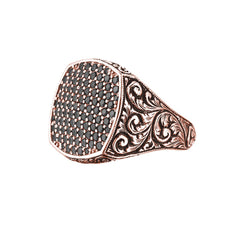 Classic Cushion Pave Ring - Rose Gold - Pave Black Diamond