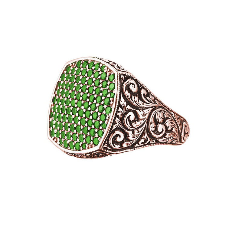 Classic Cushion Pave Ring - Rose Gold - Pave Emerald
