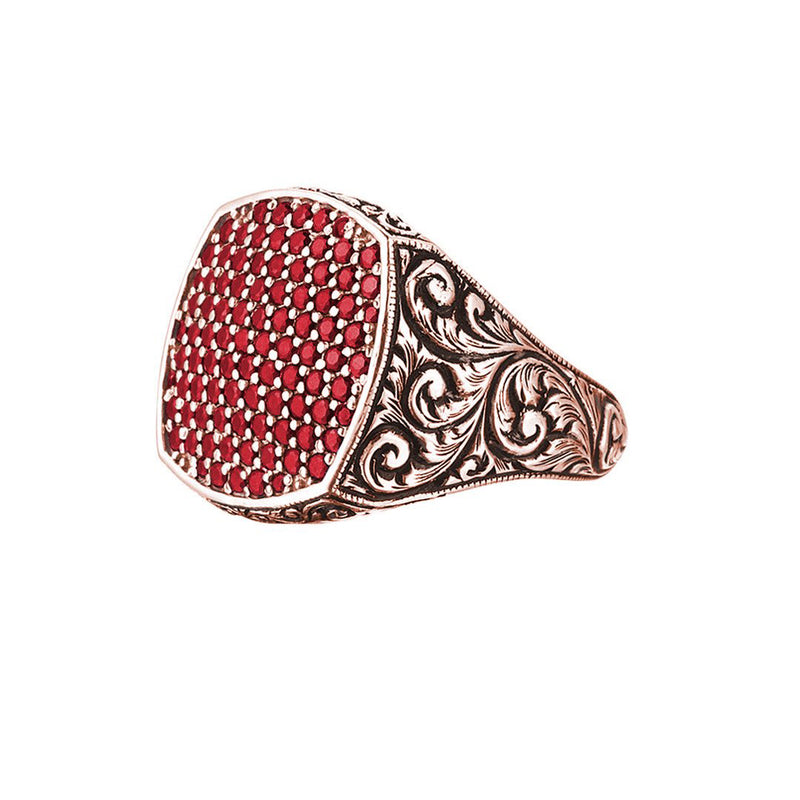 Classic Cushion Pave Ring - Rose Gold - Pave Ruby