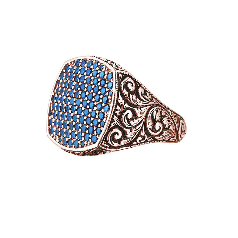 Classic Cushion Pave Ring - Rose Gold - Pave Sapphire