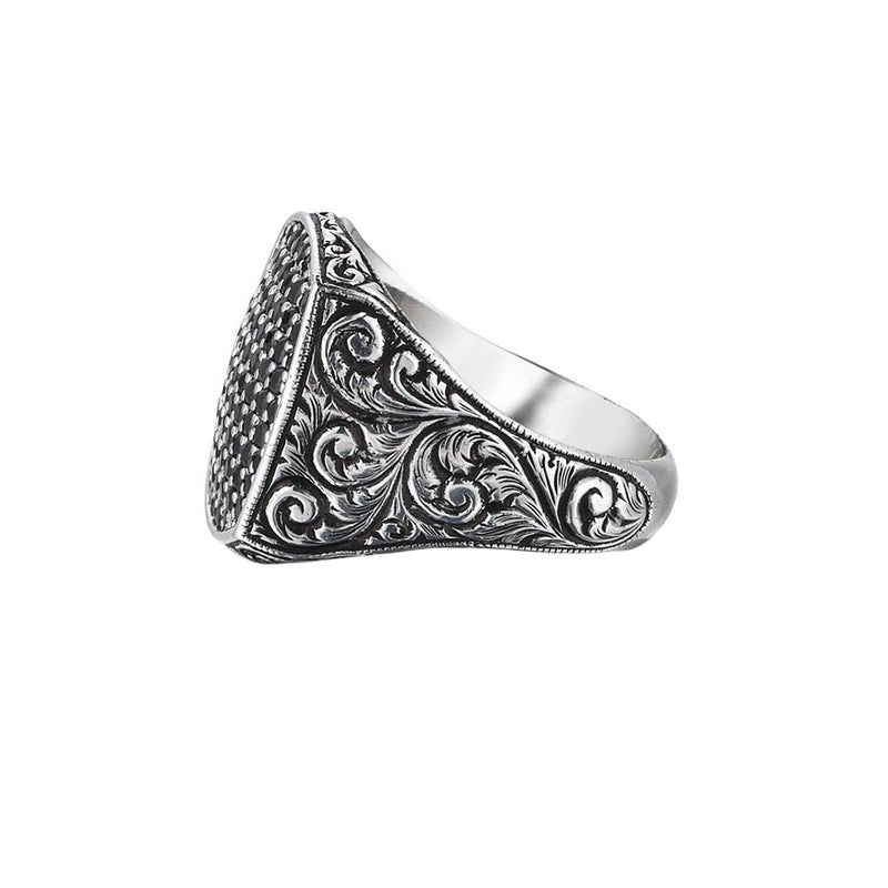 Classic Cushion Pave Ring - White Gold - Pave Black Diamond