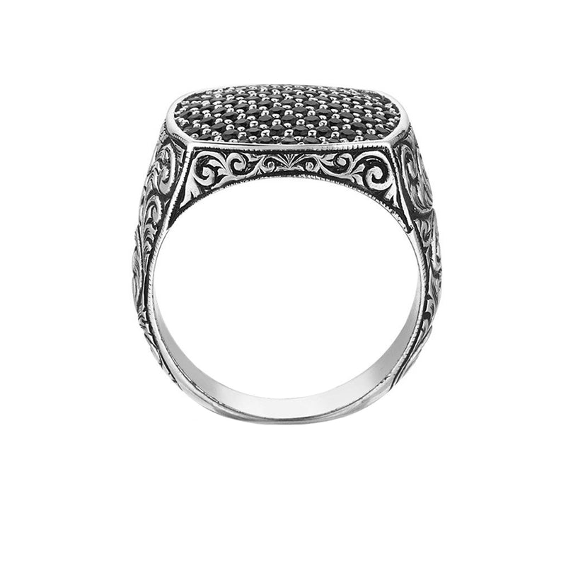 Classic Cushion Pave Ring - Pave Black Diamond