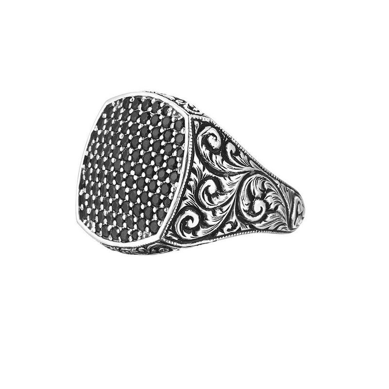 Mens Classic Cushion Pave Ring