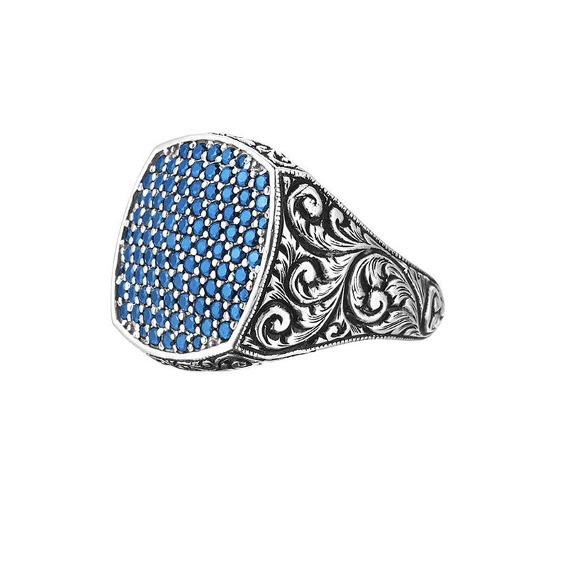 Classic Cushion Pave Ring - White Gold - Pave Sapphire