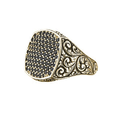 Classic Cushion Pave Ring - Yellow Gold - Pave Cubic Zirconia